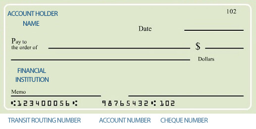 routing number cheque
